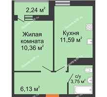1 комнатная квартира 31,83 м² в ЖК Рекорд, дом 2 этап - планировка