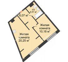 """2 комнатная квартира 41,01 м² в ЖК Европейский берег, дом ГП-9 """"Дом Монако"""" - планировка"""