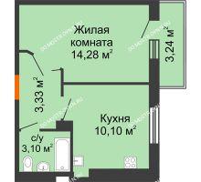 1 комнатная квартира 32,42 м², ЖК Орбита - планировка