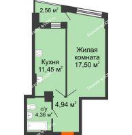 1 комнатная квартира 39,1 м² в ЖК Рубин, дом Литер 3 - планировка
