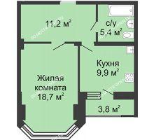 1 комнатная квартира 47,9 м² в ЖК Цветы, дом № 27 - планировка